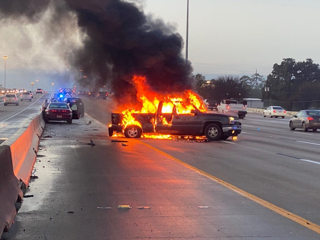 Client's vehicle catches fire after MVA