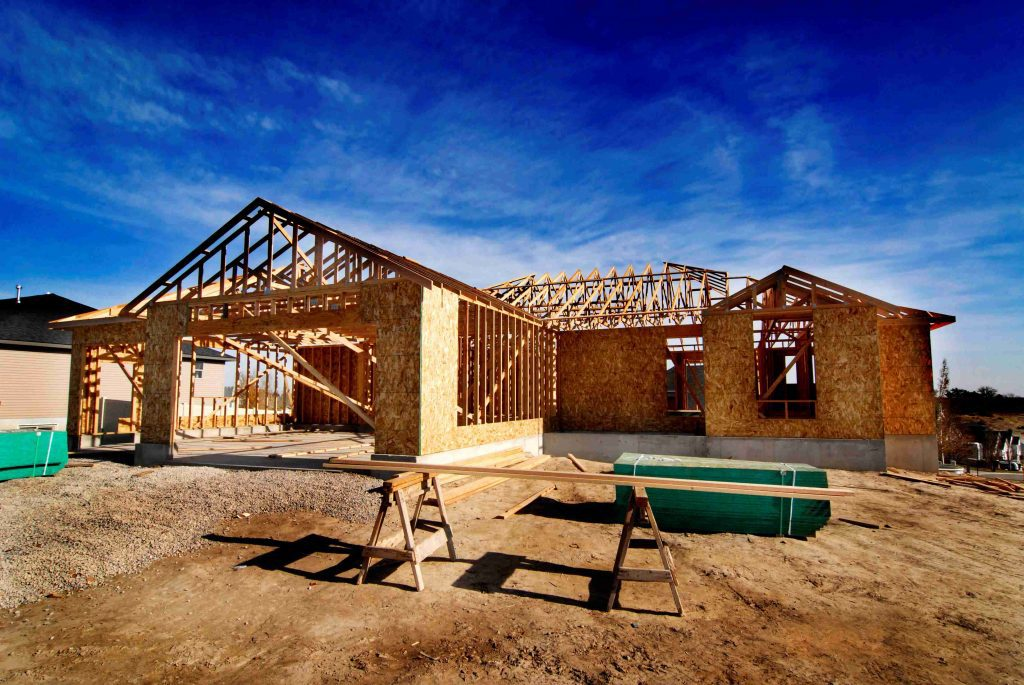new home being built with framing
