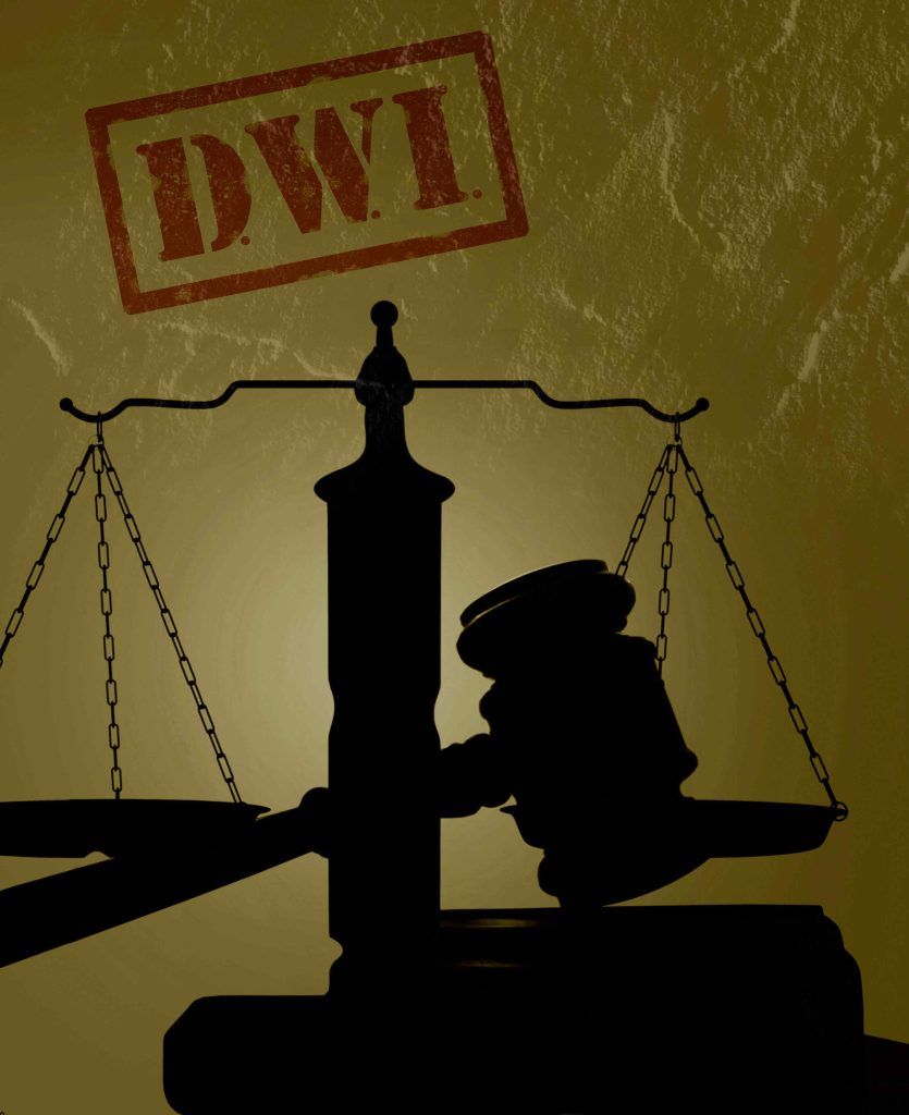 gavel and scale of justice with DWI tag